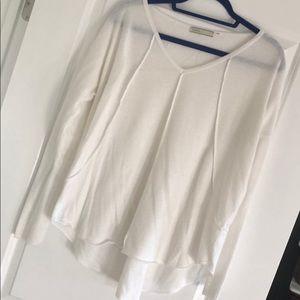 Thin white v-neck sweater